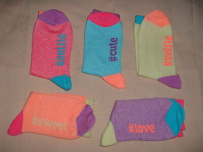 Five (5) Pairs Girls Lovely Multi Coloured Wording Socks Age 7-10 Years New