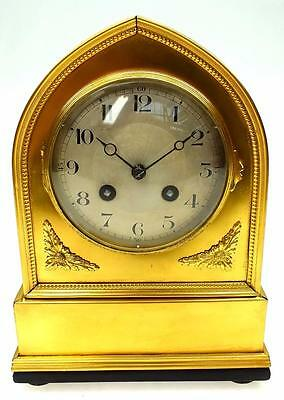Fantastic Antique French Lancet Bronze Ormolu 8 Day Bell Striking Mantel Clock