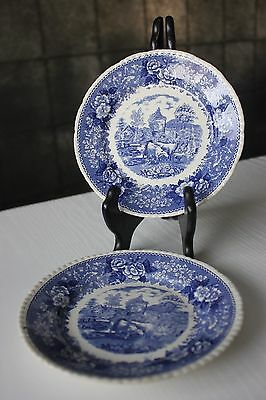 2x ENGLISH SCENIC STAFFORDSHIRE ADAMS CATTLE BLUE WHITE SIDE PLATES