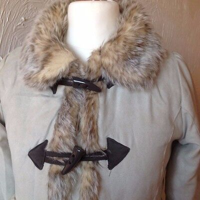 Faux Suede & Faux Fur Fully Lined Quilted Coat Ages 7 - 8