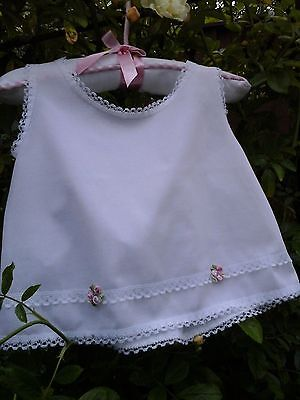 Vintage Baby / Doll vest Top /petticoat slip ~ White - lace -Dainty Pink Flowers