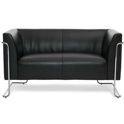 Loungesofa CURACAO Chrome-Gestell Kunstleder 2-Sitzer Couch Canape hjh OFFICE