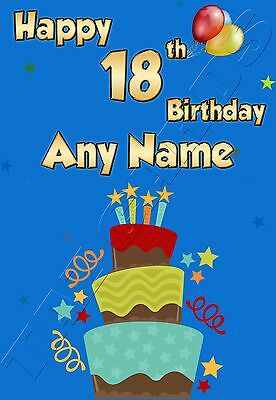 PERSONALISED 18th AGE 18 ANY NAME IDEAL FOR SON GRANDSON NEPHEW BIRTHDAY CARD