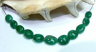 11 RARE GENUINE NATURAL SMOOTH GREEN EMERALD OVAL BEADS 15.5ct 6.5-9mm