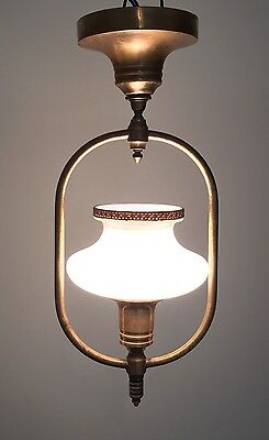 "16"" Long Antique Vintage Brass Fixture Great Patina With Beautiful Globe"
