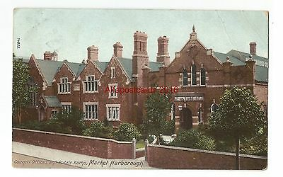 Leicestershire Leicester Council Offices And Public Baths Vintage Postcard 27.11