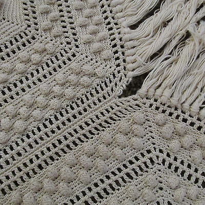 Antique French Table or Bed Cover Crochet Textile Handmade Lace w/Fringe 88 x 60