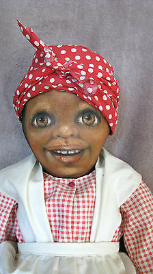 June's Dolls Primitive Folk Art Black cloth doll with Hand painted face 1994
