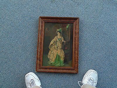 Nice Antique Victorian Portrait Watercolor Painting Young Beautiful Woman JWC