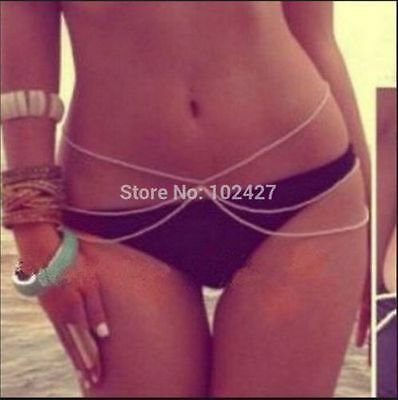 Women Bikini Beach Gold Harness Crossover Belly Waist Body Chain Necklace Hippie