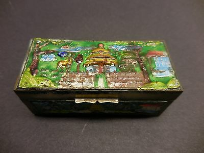 Vintage Chinese Cloisonné Brass Enamel Stamp Box with Temple Animal Design