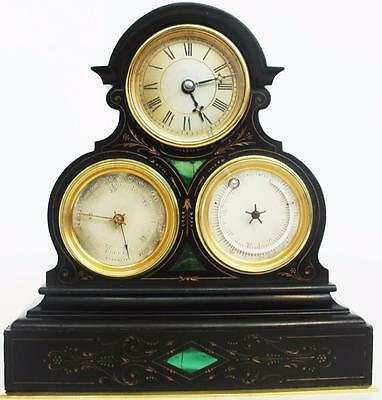 Antique 19thc Miniature French Black Marble & Malachite Combination Mantle Clock