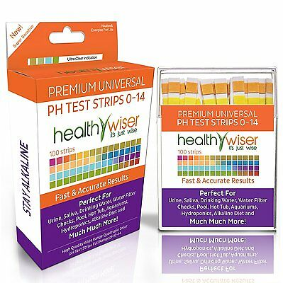 HealthyWiser pH Test Strips 0-14, Universal Application, Results in Seconds.