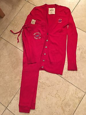 Girls Red Hollister Cardigan & Jog Bottoms Size XS