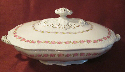 ANTIQUE Victorian WOOD & SON ENGLAND Royal Semi Porcelain LARGE COVERED DISH