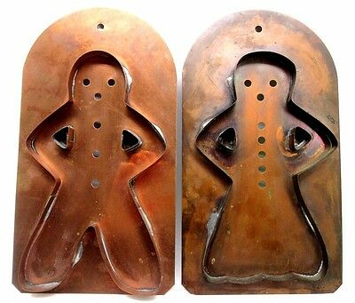 "Gingerbread Boy & Girl Cookie Cutters 10"" Copper Pfaltzgraff 2 Pc Set  (A3)"