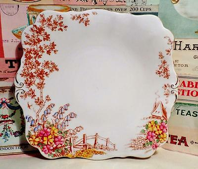 VINTAGE China QUEEN ANNE Cake Plate 'MEMORIES' Embossed GORGEOUS