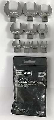 "NEW Craftsman 4362 10 Piece 3/8"" Drive Crowfoot Wrench Set"