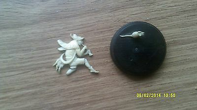 Old Carved Cow Bone Pied Piper & Rats Tiny Figures-Some Damage