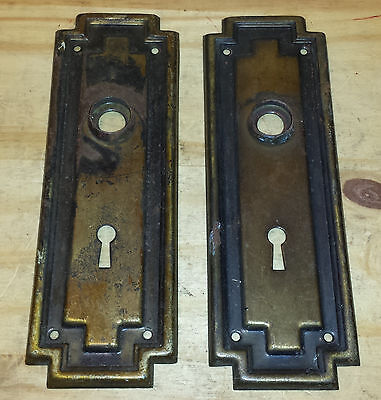 Set of 2 Vintage Brass Door Knob Key Plates Backplate