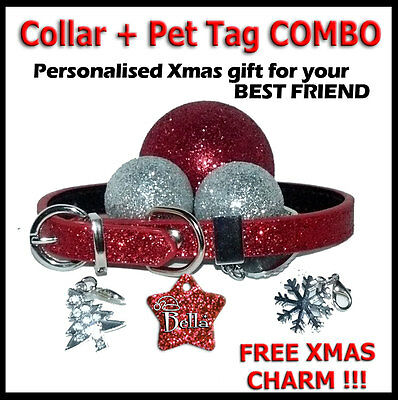 Christmas Collar + Pet ID Tag COMBO Dog Kitten Puppy Cat Name Tags Personalised