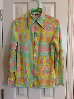 Vintage 70's Groovy LS Button Up Shirt Polyester Women's