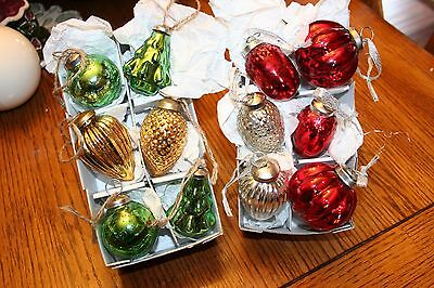 Beautiful Set of 12 Crackled Looking Glass Multi Colored Christmas Ornaments
