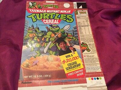Teenage mutant ninja turtle vintage cereal box w/coloring contest graphic-1989