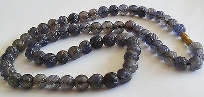Estate 1930's Carved Amethyst Necklace Lotus Rare Chinese
