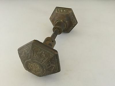 Pair Ornate Victorian Cast Brass Passage Door Knobs-Hexagonal Shaped.     *1330