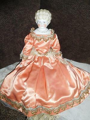 """Antique Porcelain China Doll ~ 22"""" -Light Blonde Molded Hair - China arms & legs"""