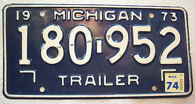"VINTAGE 1973 MICHIGAN ""TRAILER"" LICENSE PLATE  180•952 White on Royal Blue"