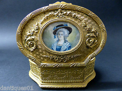 Very Beautiful Old Gilt Box With Hand Painted Portrait On The Lid - Rare - L@@k