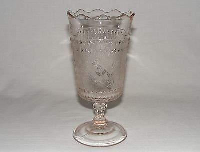 "ANTIQUE VICTORIAN EARLY AMERICAN PRESSED GLASS 8""  TALL CELERY VASE c. 1880"
