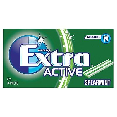 WRIGLEY'S EXTRA ACTIVE SPEARMINT SugarFree Gum - 14 Pieces