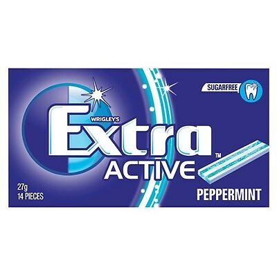 WRIGLEY'S EXTRA ACTIVE PEPPERMINT SugarFree Gum - 14 Pieces