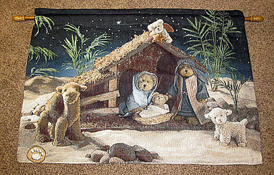 Boyds Bears Christmas Nativity ~ Peace on Earth Tapestry Wall Hanging