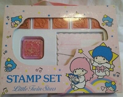 RARE * VINTAGE SANRIO Little Twin Star STAMP SET from 1988 in ORIGINAL PACKAGING