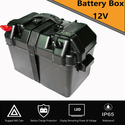 12V Deep Cycle Battery Box W/ LCD Screen residual battery Charge Caravan Camping