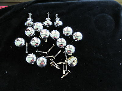 "Lot 16 Vintage Drawer Pulls Knobs Silver Chrome Round 1 3/8"" dresser cabinet"