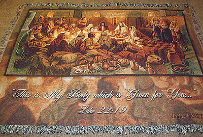This Is My Body ~ Jesus Christ w/Disciples ~ The Last Supper Tapestry Throw