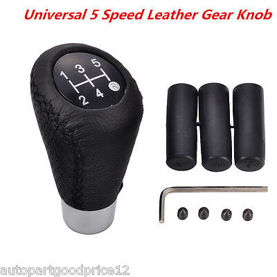 Universal 5 Speed Leather Manual Car Gear Shift Knob Shifter Lever Handle Stick