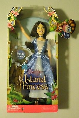 Barbie As The Island Princess Blue Dress Brunette Hair W/bracelet For You!
