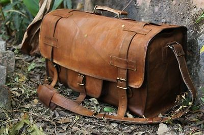 Men's Women's Real Leather Travel Bag Luggage Shopping Gym Weekend Overnight