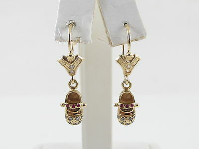18K Yellow Gold Baby Shoes Dangling Ruby and Diamond Earrings