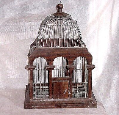 Antique Wood & Wire Domed Top Bird Cage Vintage Victorian 18 inches Shabby Chic