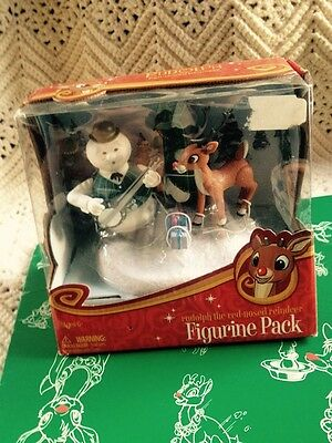 SAM the SNOWMAN and Rudolph red nose reindeer Figurine Pack NEW In Package