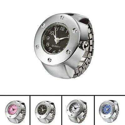 Women Ladies Round Rhinestone Steel Elastic Alloy Band Quartz Finger Ring Watch