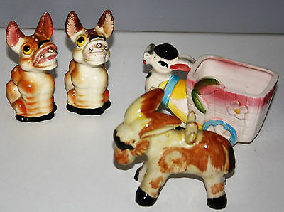 Vintage Donkey Cart/planter, S&p Shakers, Trio #2
