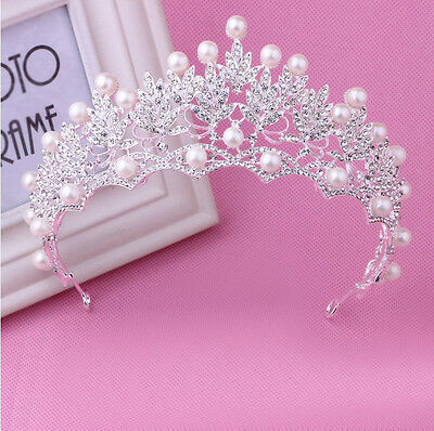 7cm High Pearl Leaf Full Crystal Crown Wedding Bridal Party Pageant Prom Tiara